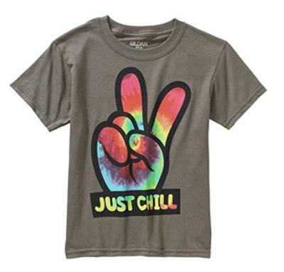 f83a62467 Qoo10 - (Gildan) Just Chill Peace Sign Boy s Graphic T-shirt : Men's  Clothing