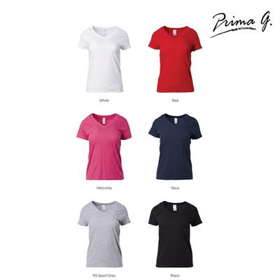1ce74f1f26c Prima G Gildan Ladies V Neck Soft-style Plain T Shirt - Black White