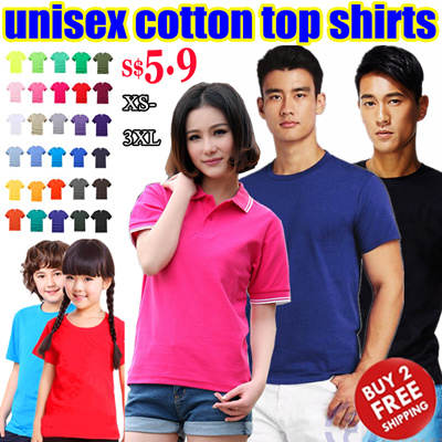 bc68474e1649 Women Men Girl Boy Kids Cotton Event Unisex Tops Polo Shirts Summer Tee   Short