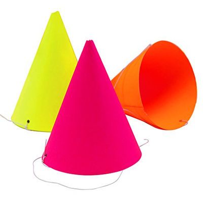 Ginger Ray NB 260 Neon Fluorescent Birthday Party Hats Adults Or Kids Multicolor
