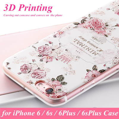 sports shoes bd901 c93e5 girl cover phone cases iphone 6 6s cape 3d flower print clear soft silicone  case apple iphone 6plus