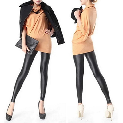detailing beautiful in colour latest fashion Girl s Sexy Black Faux Leather Leggings Women Shiny Leather Pants Worldwide  store