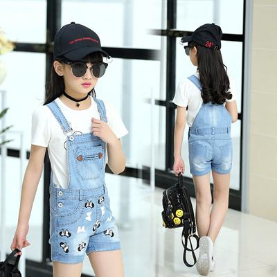 9661f98dd10d Qoo10 - Girls Clothing Set 2PC(Overalls+T Shirt) Baby Sports Suits Kids  Denim ...   Kids Fashion