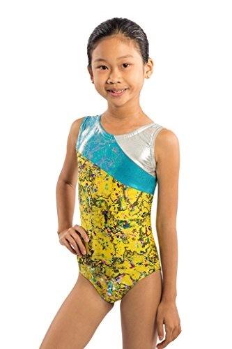 3872283587e4 Qoo10 - Girls Gymnastics Leotard Yellow Splatter Paint Sparkle Three ...