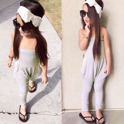94bad406341 Qoo10 - Girls Jumpsuits Summer Solid Strap Overalls Jumpsuit Bodysuits Off  Sho...   Baby   Maternity