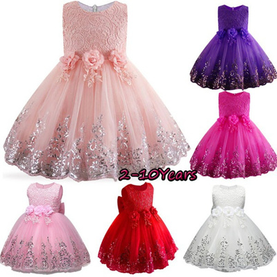 ea0c19e64a7a Qoo10 - Girls Lace Sequins Formal Evening Wedding Gown Tutu Princess Dress  Flo... : Baby & Maternity