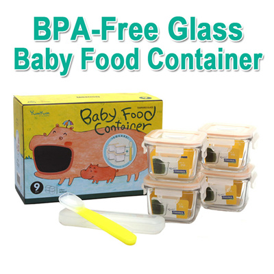 Glasslock[Glasslock]Baby Food Containers 4ea Set Storage/Freeze Puree  Stock/Safe Lightweight Glass★BPA-Free