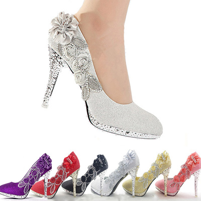 Sparkly Floral Bridal Glitter Shoes Heels High Pump Gorgeous Women Party Wedding tsdQrh