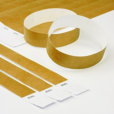 graphic about Printable Wristbands for Events named Gold 3/4 Tyvek Wristbands - 500 Pack Paper Wristbands for Functions via Elan