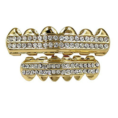 Gold Grillz Teeth Set Best gift for Son-New Custom Fit 14k Plated Gold Cruz  Diamonds Grillz - Excell