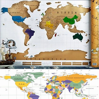Qoo10 Gold Plated Coating Travel Scratch Off Map Travel Scratch