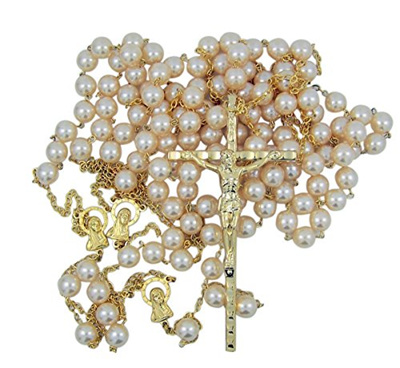 Gold Toned Wedding Lasso Rosary with Acrylic Prayer Bead for Married Couple  33 Inch