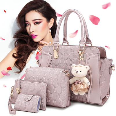 6 Models Available▷Set of 4+@ Knurling Pattern PU Leather Bags for Women d16ef27435381