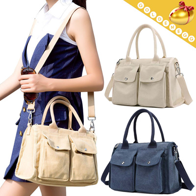◇Stylish Multi-pocket Canvas 2way Bags for Women◇ Tote Shoulder Bag- 45f86119d544f