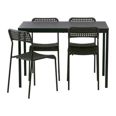 Ikea Tarendo Adde Meja Makan Dan 4 Kursi Hitam