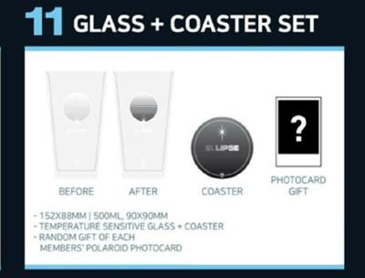 GOT7 2019 WORLD TOUR KEEP SPINNING OFFICIAL GOODS GLASS + COASTER SET  PHOTOCARD