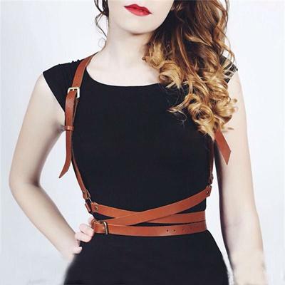 192cde61c64 Gothic Suspender Women Leather Harness Sexy Punk Cross Sculpting Body Waist  Belt 100% handmade