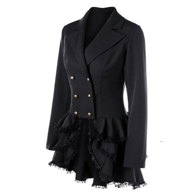Gothic Women Lace Trench Coat England Style Slim Office Lady Black Blazer Outerwear
