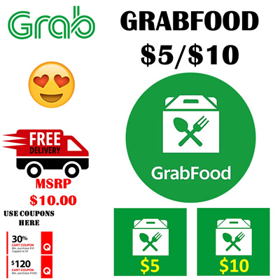 Grab Food Delivery Promo Code (Non Top Up) $5 $10