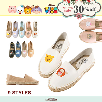 Gracegift-Disney Tsum Tsum Mismatch Ankle-Fold Espadrilles/Women/Girls Shoes /