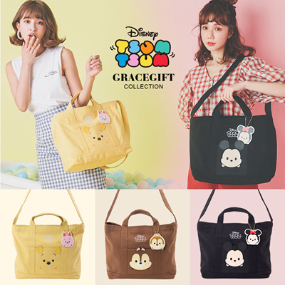 Gracegift-Disney Tsum Tsum 2way tote handbag/Women/Ladies/Girls Shoes/