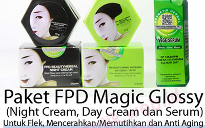 Paket FPD Beauty Herbal Whitening Day NIGHT Cream Vege Herbal Serum BPOM Aman