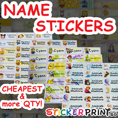 128pcs for 22x9mm cartoon personalised waterproof name stickers