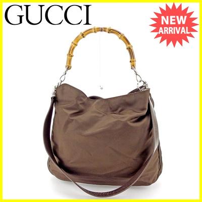 71f780c3d47eb3 Gucci GUCCI 2 WAY shoulder bag handbag ladies' men's bamboo khaki × brown ×  natural