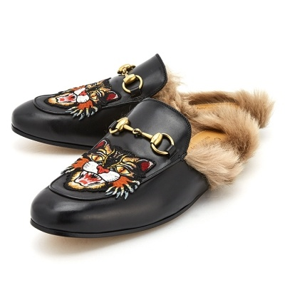 6b18388b02c2cd  Gucci  Prince Town Angry Cat 478285 DKHH0 1063 Mens Leather Slippers (UK)