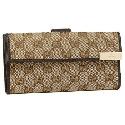 742123b10d861c GUCCI Wallet Outlet Gucci 257012 KQWFG 9643 GG Supreme Canvas Purse Beige /  Ebony