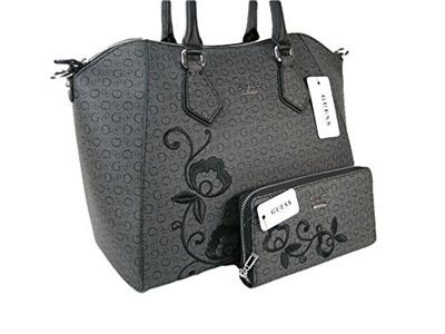 Guess New G Logo Purse Crossbody Bag Wallet Set 2 Piece Matching Coal Black