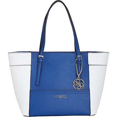 0d21b57f9bc Qoo10 - GUESS Women s Delaney Medium Classic Tote Blue Multi ...