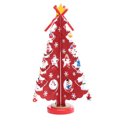 14-inch Tabletop Mini Wooden Christmas Tree with 28 Mini Ornaments for Christmas Decorations