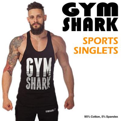 2addbfccb Qoo10 - GYM SHARK SINGLETS   Sportswear