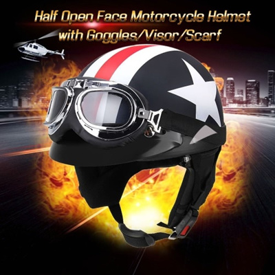 Qoo10 Half Open Face Motorcycle Helmet With Goggles Visor Scarf