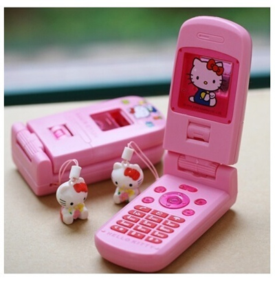 Hallo Kitty mobile phone toys children play pink simulation pronunciation  telephone KT Cat Pendant_b
