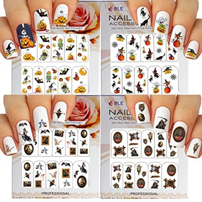 Halloween Nail Art Water Slide Tattoo Stickers Decals Fun and Scary - Pack  of 4-