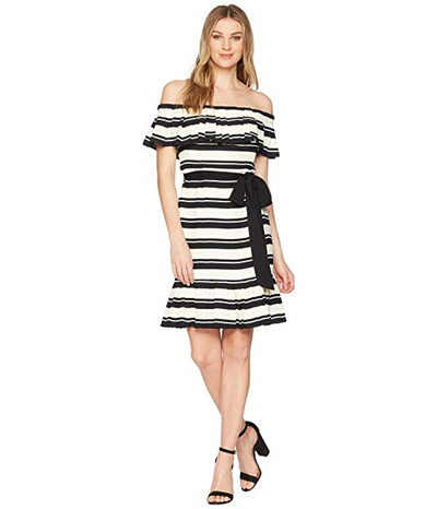 4d512fbe0d2f Qoo10 - Halston Heritage Off Shoulder Flounce Sleeve Striped Dress ...