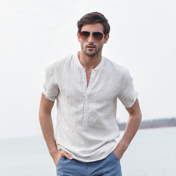 16f672c212 Han-dyed striped collar linen short sleeve shirt men s summer slim half  sleeve cotton