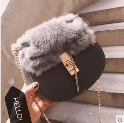 ce40c8b93a Qoo10 - Han edition tide winter rabbit hair mini pig bag