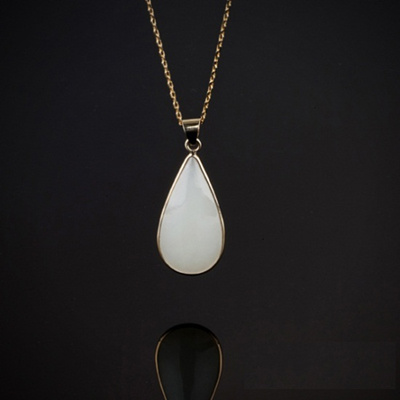 c74d7ebe5e1faf [HappyLooks]Chun Chon Jade teardrop inlaid medal necklace handmade 100%  natural nephrite ivory