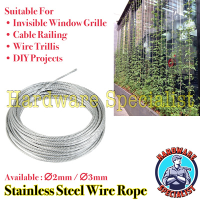 Qoo10 - Stainless Steel Wire Rope For Invisible Window Grille Wire ...