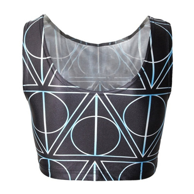 69e04e506537e Qoo10 - Harry Potter Crop Top Deathly Hollow Geometric T Shirt Black Crop  Top...   Men s Clothing
