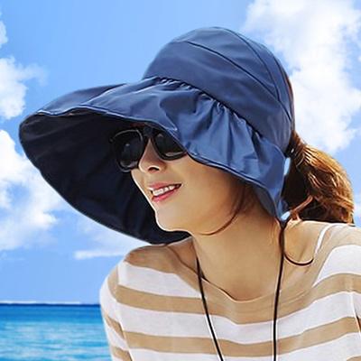 06457f4fa57 Qoo10 - Hats girls summer Korean outdoor UV sun visor folded along the  beach S...   Fashion Accessor.