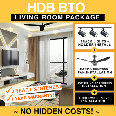 Qoo10 - HDB BTO Living Room Ceiling Fan and Track Light Installation ...