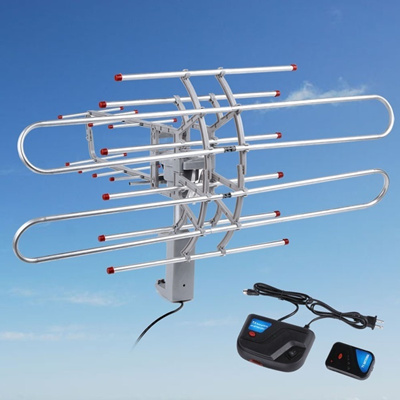 150Miles HDTV Outdoor Amplified Digital Antenna 360 Rotor HD TV UHF VHF FM