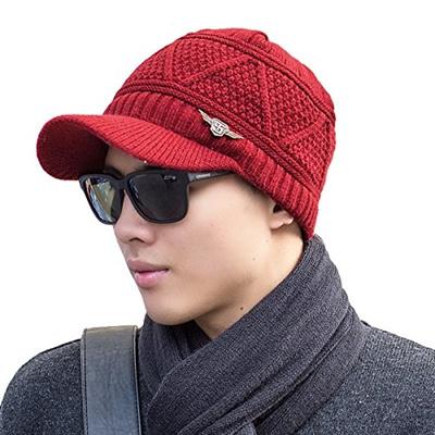 680457a6b18bf Qoo10 - Headshion Mens Visor Beanie Winter Knit Beanie Hat Brim Fleece  Lined n...   Men s Bags   Sho.