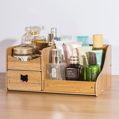 Hecare Makeup Organizer Diy Wood Organizer Cosmetic Storage Box With Drawers