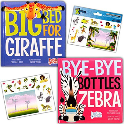 Hello Genius Board Books Set Baby Toddler -- 2 Books with Stickers (Bye-Bye  Bottles Zebra, Big Bed f