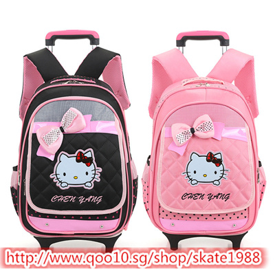 66beca806ccf Qoo10 - Hello Kitty Children School Bags Kids Backpacks With Wheel Trolley  Lug...   Kids Fashion